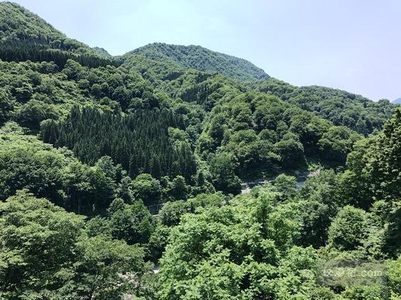 逆巻温泉 川津屋 宿の前から見える山の景色